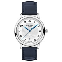 Montblanc 117574 'S Star Legacy Automatic Date Alligator Leather Strap Watch Navy Silver