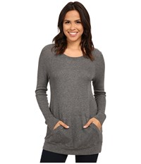 Allen Allen Long Sleeve Front Pocket Raglan Crew Heather Grey Women's T Shirt Gray