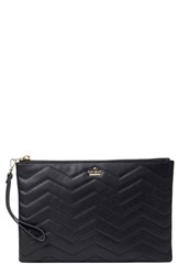 Kate Spade New York Reese Park Finley Quilted Leather Clutch Black