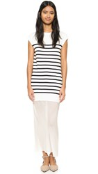 Alexander Wang Knit Tank And Silk Combo Dress Off White And Navy
