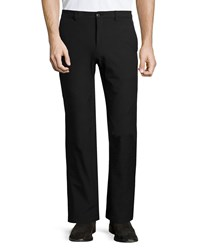 Versace Scuba Flat Front Trousers With Leather Trim Black