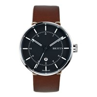 Bravur Watches Steel Case And Black Dial Brown Strap Black White Grey