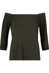 Bailey 44 Off The Shoulder Stretch Jersey Top Army Green