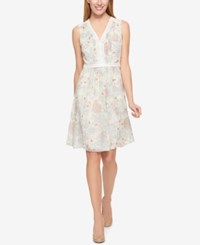 Tommy Hilfiger Printed Crochet Contrast Dress Only At Macy's Yellow Multi