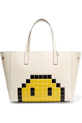 Anya Hindmarch Ebury Embossed Textured Leather Tote Ivory Yellow