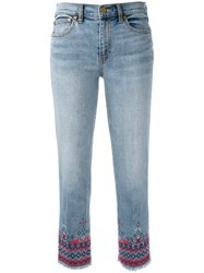 Tory Burch Embroidered Cropped Denim Jeans Blue