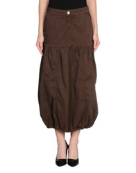 Manila Grace Denim Skirts Dark Brown