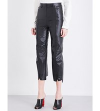 Vetements Zip Up Cropped Leather Trousers Black