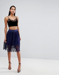 Love Triangle Cutwork Lace Prom Skirt Navy