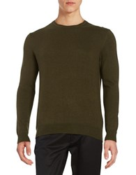 Black Brown Long Sleeve Crewneck Sweater Dark Olive