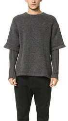 Opening Ceremony Double Layer Oversized Crew Neck Sweater Charcoal