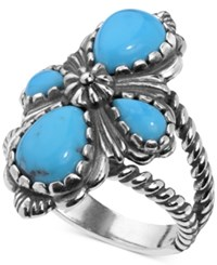 American West Turquoise Cluster Ring 3 9 10 Ct. T.W. In Sterling Silver