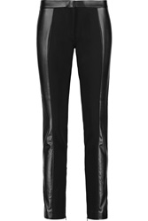 Tory Burch Mabley Faux Leather And Stretch Jersey Skinny Pants