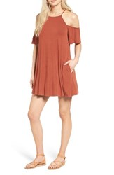 Socialite Women's Cold Shoulder Dress Rust