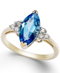 Macy's Blue Topaz 2 3 4 Ct. T.W. And Diamond 1 6 Ct. T.W. Marquise Ring In 14K Gold