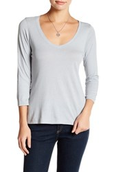14Th And Union 3 4 Sleeve V Neck Shirt Petite Gray