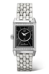 Jaeger Lecoultre Reverso Classic Duetto Small Stainless Steel And Diamond Watch Silver