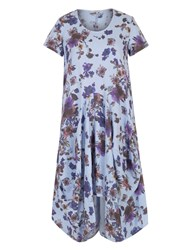 Chesca Floral Print Linen Dress Blue Multi