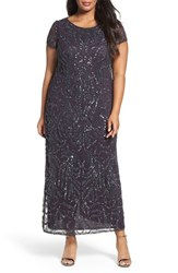 Pisarro Nights Plus Size Women's Cap Sleeve Beaded Long Dress