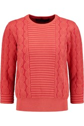 Marc By Marc Jacobs Lucinda Jacquard Knit Cotton Blend Sweater Red