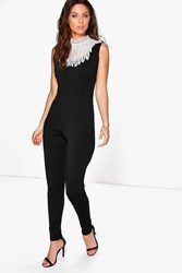 Boohoo Statement Neck Skinny Leg Jumpsuit Black