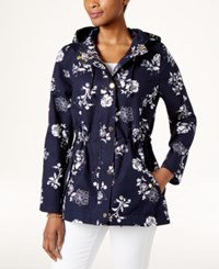 Charter Club Petite Floral Print Hooded Utility Jacket Only At Macy's Intrepid Blue Combo