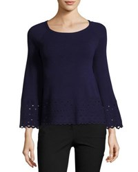 Ramy Brook Diana Laser Cut Long Sleeve Top Navy