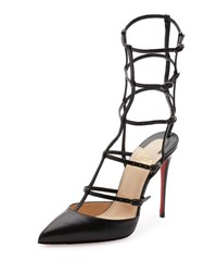 Christian Louboutin Kadreyana Caged 100Mm Red Sole Sandal Black