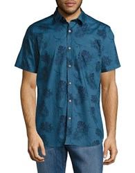 Sovereign Code Banky Tropical Print Cotton Shirt Turquoise