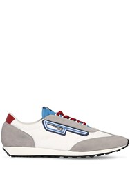 Prada Milano 70 Nylon And Suede Running Sneakers White