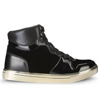 Aldo Ilane Leather And Velvet High Top Trainers Black