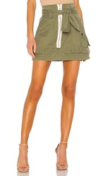 Marissa Webb Hannah Herringbone Canvas Skirt In Army. Military Green