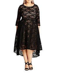 City Chic Lace Lover High Low Dress Black