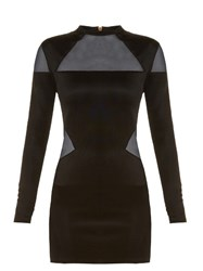Balmain Mesh Insert Mini Dress Black