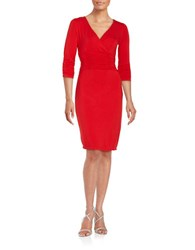 Nue By Shani V Neck Sheath Dress Red