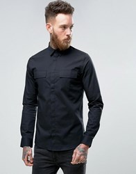 Only And Sons Skinny Smart Military Shirt Black