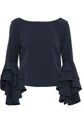 Milly Annie Ruffled Crepe Blouse Midnight Blue