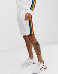 Only And Sons Rainbow Side Stripe Sweat Shorts In White