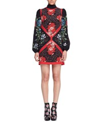 Alexander Mcqueen Tablecloth Print Scarf Neck Dress Black