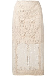 Dkny Lace Pencil Skirt Nude And Neutrals