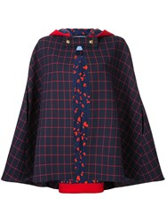 Macgraw Checked Cape Jacket Blue