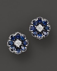 Bloomingdale's Sapphire And Diamond Flower Stud Earrings In 14K White Gold