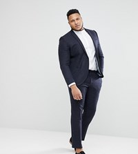 Noak Plus Skinny Suit Trousers In Grid Check Navy