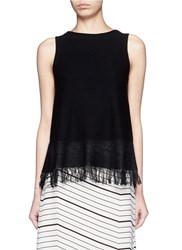 Theory 'Vendla' Fringe Knit Tank Top Black