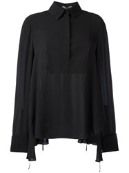 Alexander Mcqueen Oversized Ruffled Blouse Black