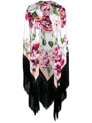 Dolce And Gabbana Oversized Floral Fringed Scarf Pink And Purple