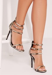 Missguided Snake Print Rounded 4 Strap Barely There Heeled Sandals Nude Green