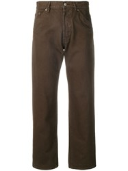 Jacquemus Straight Leg Cropped Jeans Brown