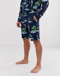 Only And Sons Parrot Print Sweat Shorts Blue