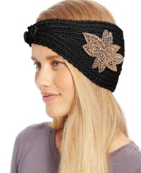 David And Young Flower Applique Headwrap Black